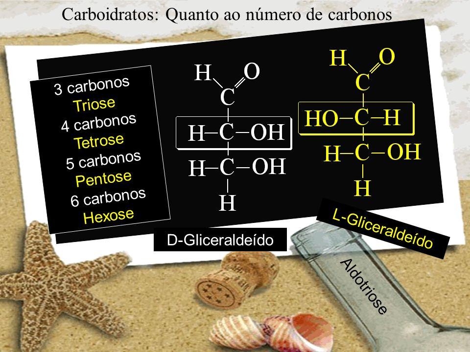 Carboidratos: Quanto ao número de carbonos 3 carbonos Triose 4 carbonos Tetrose 5 carbonos Pentose 6 carbonos Hexose D-Gliceraldeído L-Gliceraldeído A