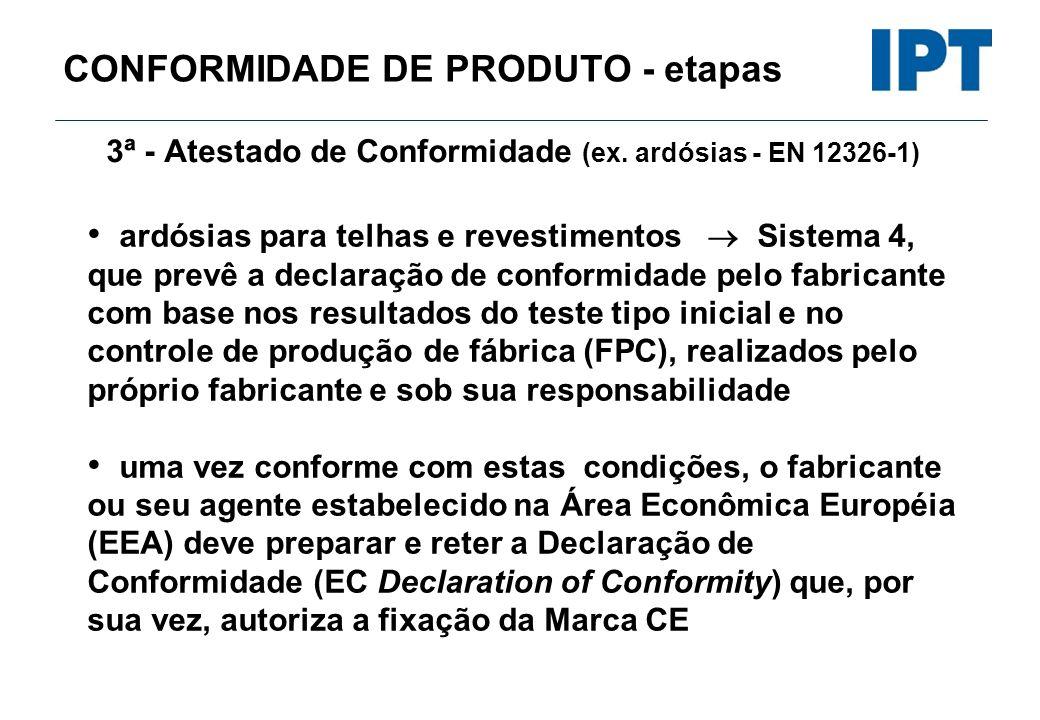 CONFORMIDADE DE PRODUTO - etapas 3ª - Atestado de Conformidade (ex. ardósias - EN 12326-1) ardósias para telhas e revestimentos Sistema 4, que prevê a
