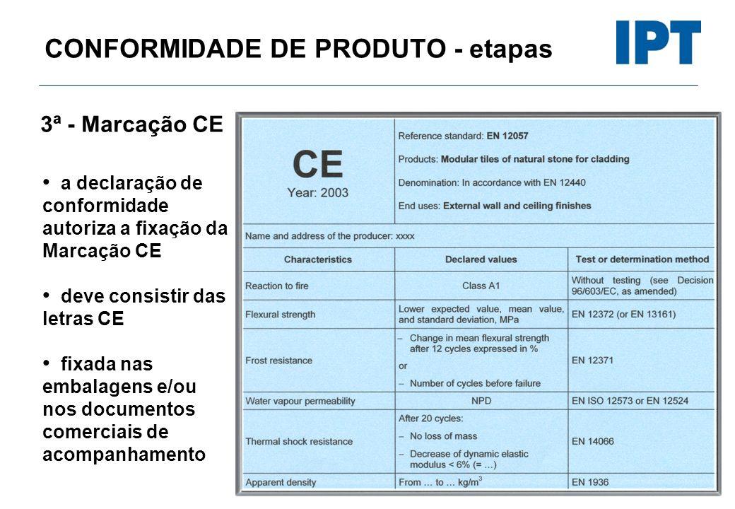 CONFORMIDADE DE PRODUTO - etapas 3ª - Marcação CE a declaração de conformidade autoriza a fixação da Marcação CE deve consistir das letras CE fixada n
