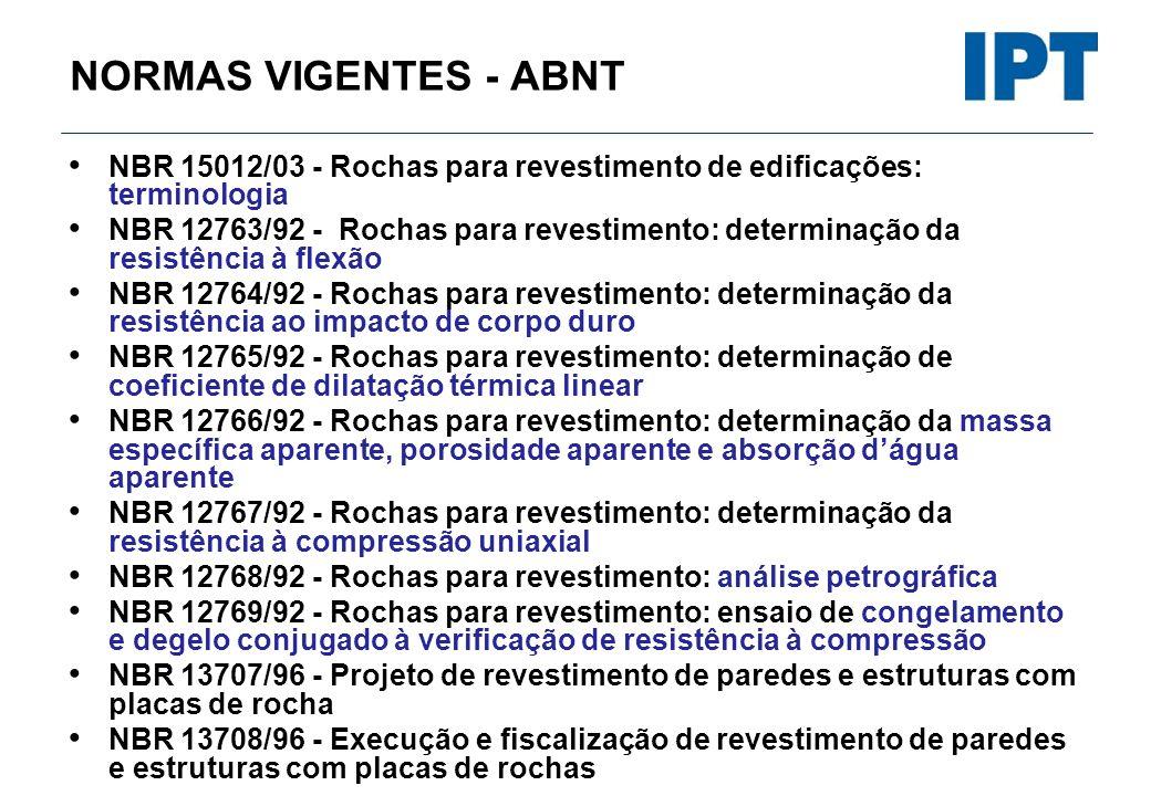 NORMAS VIGENTES - ABNT NBR 15012/03 - Rochas para revestimento de edificações: terminologia NBR 12763/92 - Rochas para revestimento: determinação da r