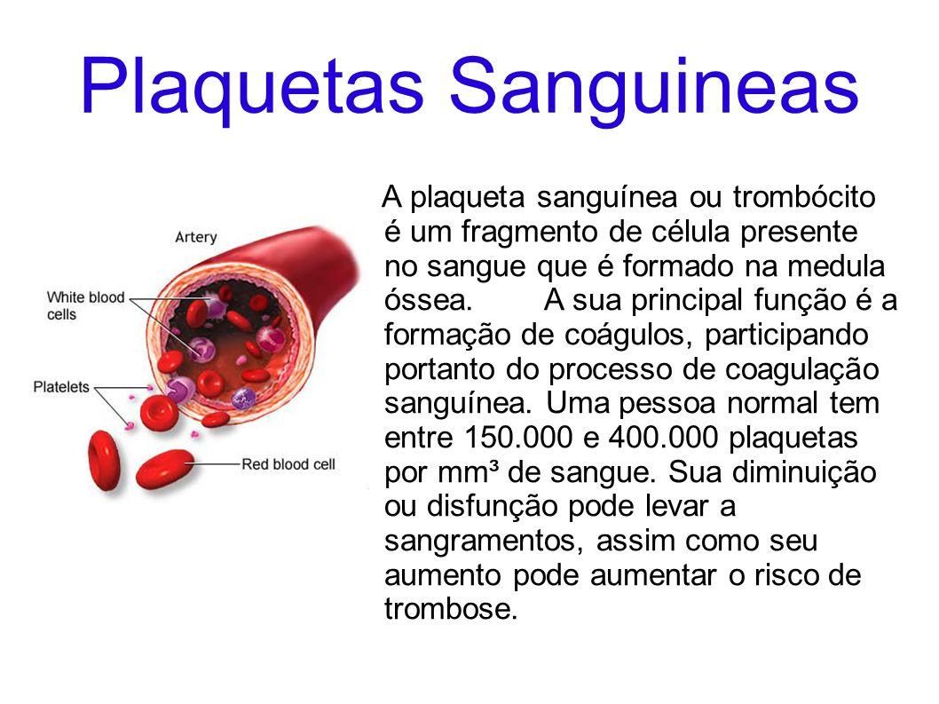 Plaquetas Sanguineas A plaqueta sanguínea ou trombócito é um fragmento de célula presente no sangue que é formado na medula óssea. A sua principal fun