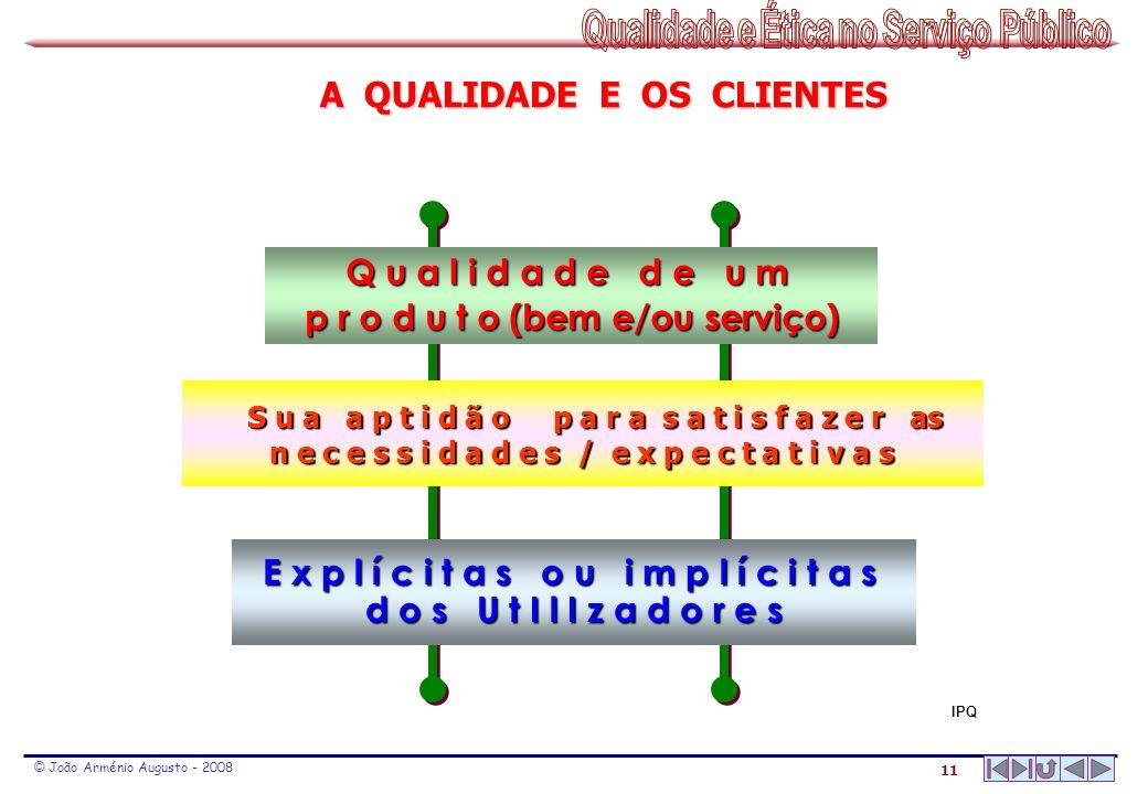 11 © João Arménio Augusto - 2008 Q u a l i d a d e d e u m p r o d u t o (bem e/ou serviço) S u a a p t i d ã o p a r a s a t i s f a z e r as S u a a