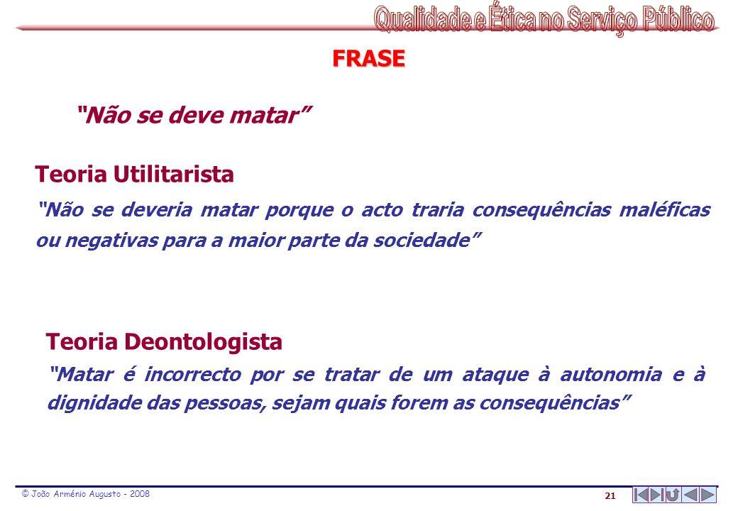 21 © João Arménio Augusto - 2008 FRASE Teoria Utilitarista Não se deveria matar porque o acto traria consequências maléficas ou negativas para a maior