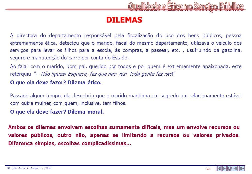 23 © João Arménio Augusto - 2008 DILEMAS A directora do departamento responsável pela fiscalização do uso dos bens públicos, pessoa extremamente ética
