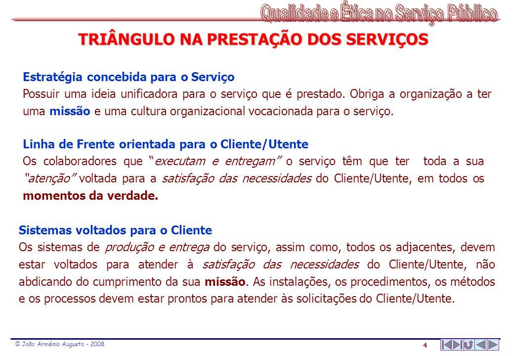 4 © João Arménio Augusto - 2008 TRIÂNGULO NA PRESTAÇÃO DOS SERVIÇOS Estratégia concebida para o Serviço Possuir uma ideia unificadora para o serviço q