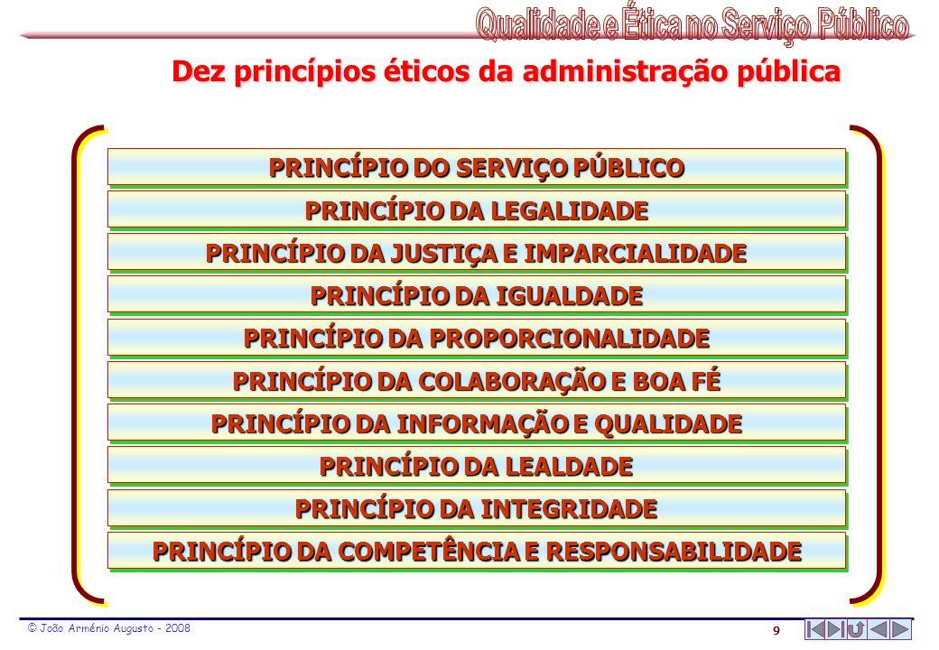 9 © João Arménio Augusto - 2008 PRINCÍPIO DA COMPETÊNCIA E RESPONSABILIDADE PRINCÍPIO DA INTEGRIDADE PRINCÍPIO DA LEALDADE PRINCÍPIO DA INFORMAÇÃO E Q