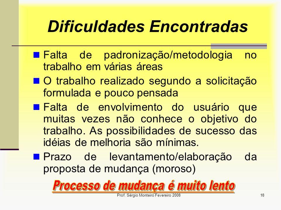 Prof. Sérgio Monteiro Fevereiro 200818 Dificuldades Encontradas Falta de padronização/metodologia no trabalho em várias áreas O trabalho realizado seg