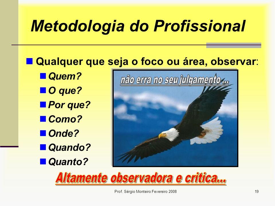 Prof. Sérgio Monteiro Fevereiro 200819 Metodologia do Profissional Qualquer que seja o foco ou área, observar: Quem? O que? Por que? Como? Onde? Quand