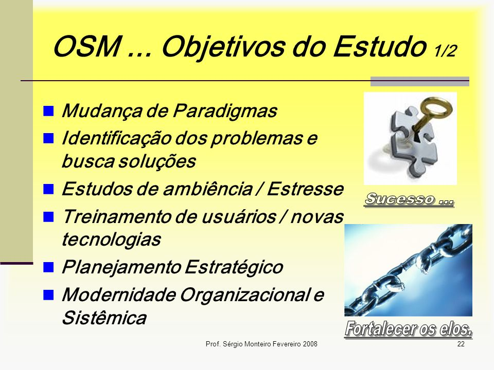Prof. Sérgio Monteiro Fevereiro 200822 OSM... Objetivos do Estudo 1/2 Mudança de Paradigmas Identificação dos problemas e busca soluções Estudos de am
