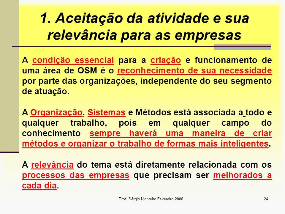 Prof. Sérgio Monteiro Fevereiro 200824 1. Aceitação da atividade e sua relevância para as empresas A condição essencial para a criação e funcionamento