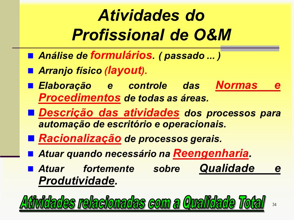 Aula1 Introdução a OSM34 Análise de formulários. ( passado... ) Arranjo físico ( layout ). Elaboração e controle das Normas e Procedimentos de todas a