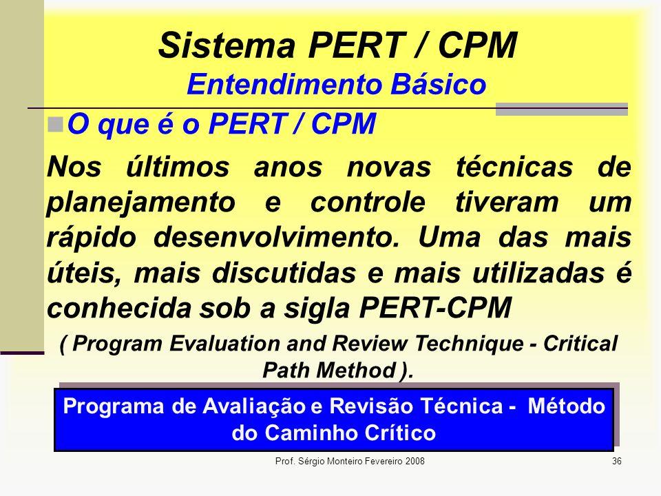 Prof. Sérgio Monteiro Fevereiro 200836 Sistema PERT / CPM Entendimento Básico O que é o PERT / CPM Nos últimos anos novas técnicas de planejamento e c