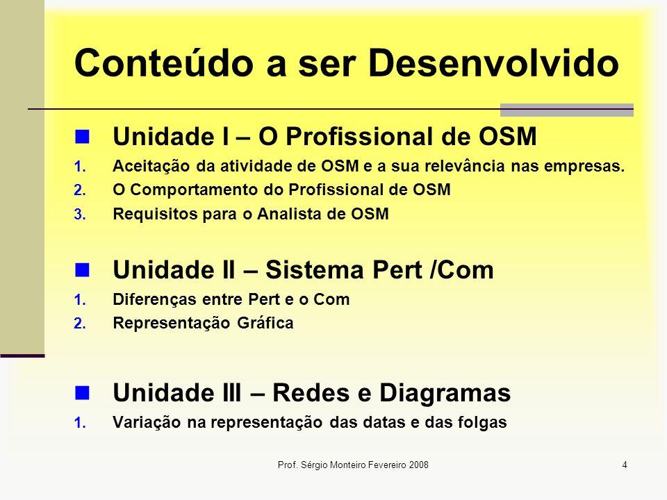 Prof. Sérgio Monteiro Fevereiro 20084 Conteúdo a ser Desenvolvido Unidade I – O Profissional de OSM 1. Aceitação da atividade de OSM e a sua relevânci