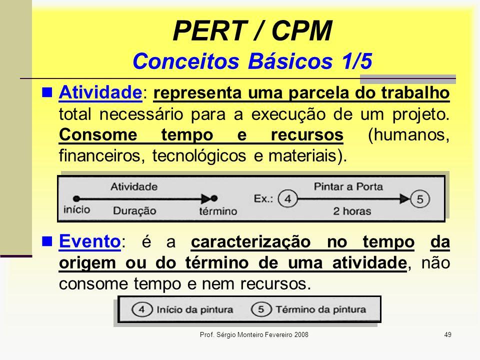 Prof. Sérgio Monteiro Fevereiro 200849 PERT / CPM Conceitos Básicos 1/5 Atividade : representa uma parcela do trabalho total necessário para a execuçã