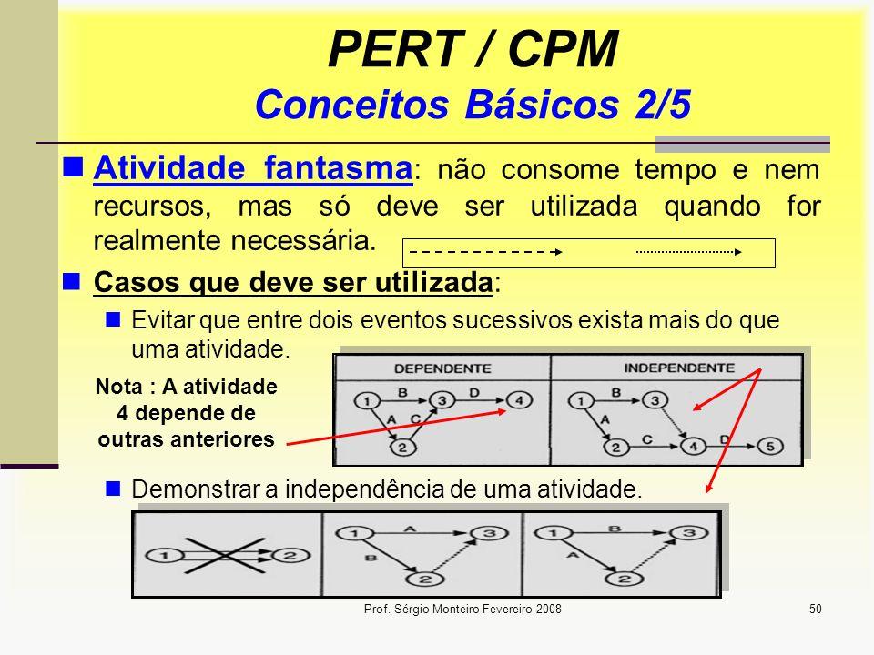 Prof. Sérgio Monteiro Fevereiro 200850 PERT / CPM Conceitos Básicos 2/5 Atividade fantasma : não consome tempo e nem recursos, mas só deve ser utiliza