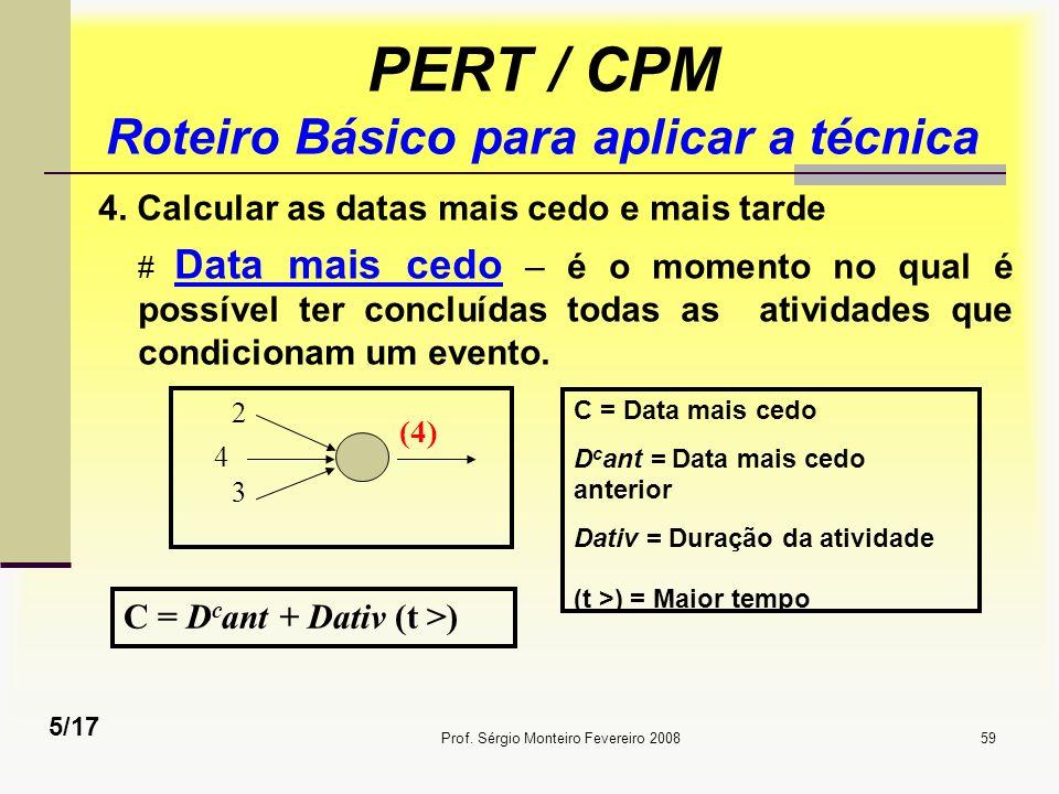 Prof. Sérgio Monteiro Fevereiro 200859 PERT / CPM Roteiro Básico para aplicar a técnica 4. Calcular as datas mais cedo e mais tarde # Data mais cedo –