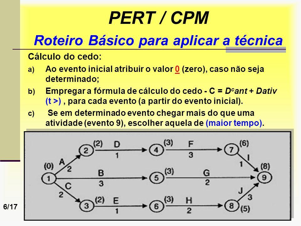 Prof. Sérgio Monteiro Fevereiro 200860 PERT / CPM Roteiro Básico para aplicar a técnica Cálculo do cedo: a) Ao evento inicial atribuir o valor 0 (zero