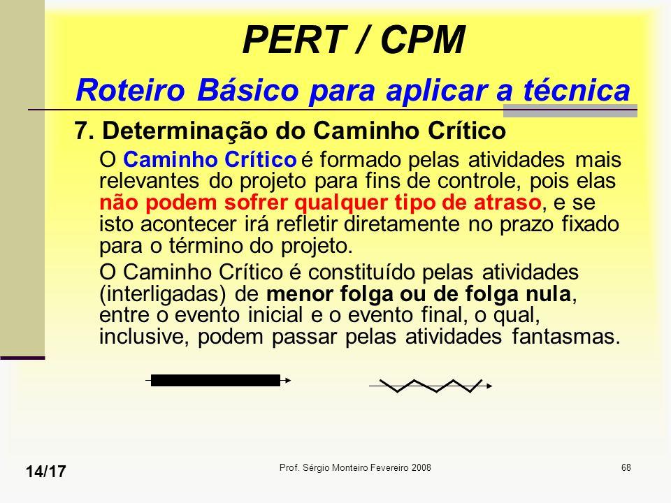 Prof. Sérgio Monteiro Fevereiro 200868 PERT / CPM Roteiro Básico para aplicar a técnica 7. Determinação do Caminho Crítico O Caminho Crítico é formado