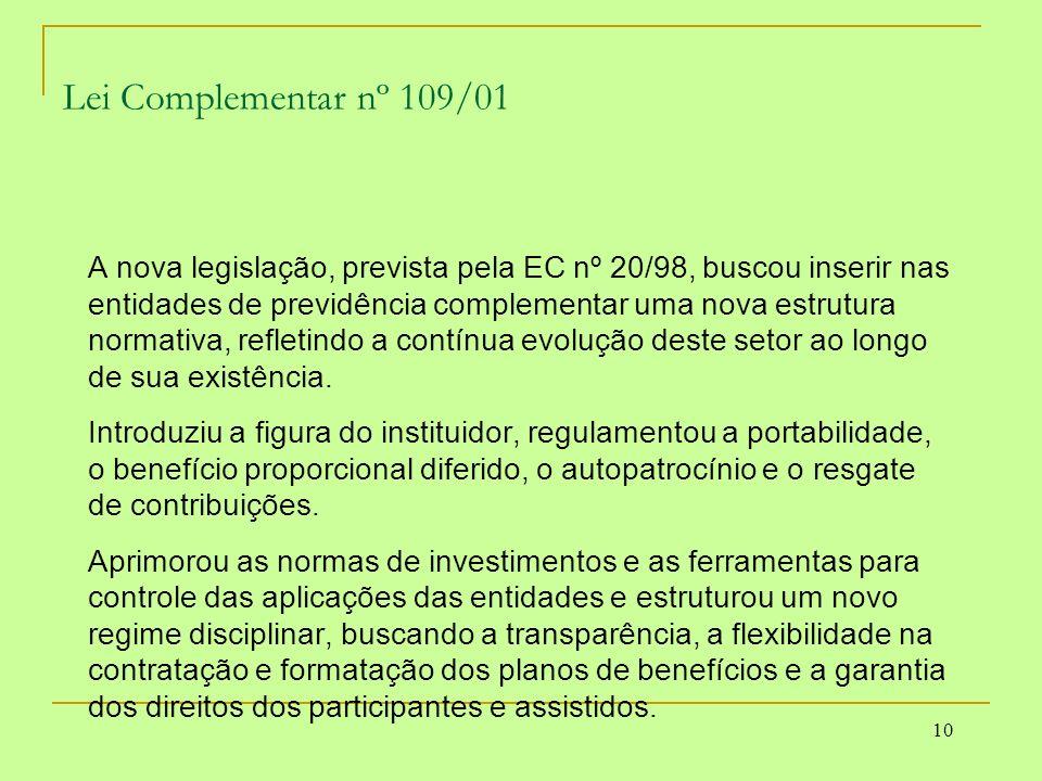 10 Lei Complementar nº 109/01 A nova legislação, prevista pela EC nº 20/98, buscou inserir nas entidades de previdência complementar uma nova estrutur