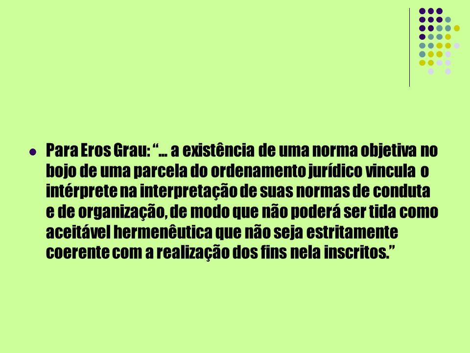Para Eros Grau:... a existência de uma norma objetiva no bojo de uma parcela do ordenamento jurídico vincula o intérprete na interpretação de suas nor