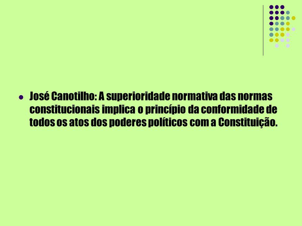 José Canotilho: A superioridade normativa das normas constitucionais implica o princípio da conformidade de todos os atos dos poderes políticos com a