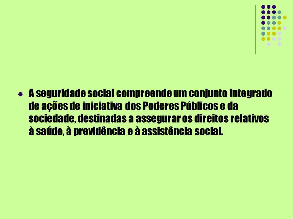 A seguridade social compreende um conjunto integrado de ações de iniciativa dos Poderes Públicos e da sociedade, destinadas a assegurar os direitos re