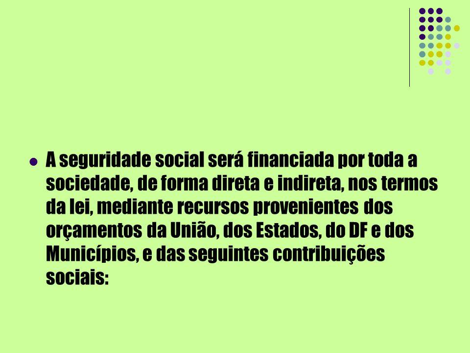 A seguridade social será financiada por toda a sociedade, de forma direta e indireta, nos termos da lei, mediante recursos provenientes dos orçamentos
