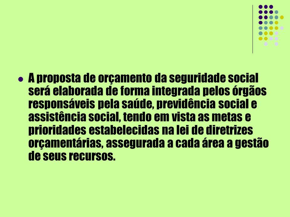 A proposta de orçamento da seguridade social será elaborada de forma integrada pelos órgãos responsáveis pela saúde, previdência social e assistência