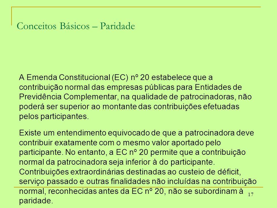 17 Conceitos Básicos – Paridade A Emenda Constitucional (EC) nº 20 estabelece que a contribuição normal das empresas públicas para Entidades de Previd