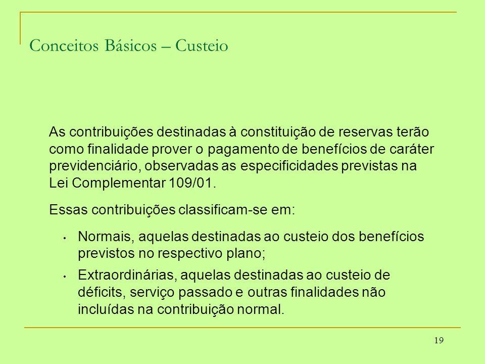 19 Conceitos Básicos – Custeio As contribuições destinadas à constituição de reservas terão como finalidade prover o pagamento de benefícios de caráte