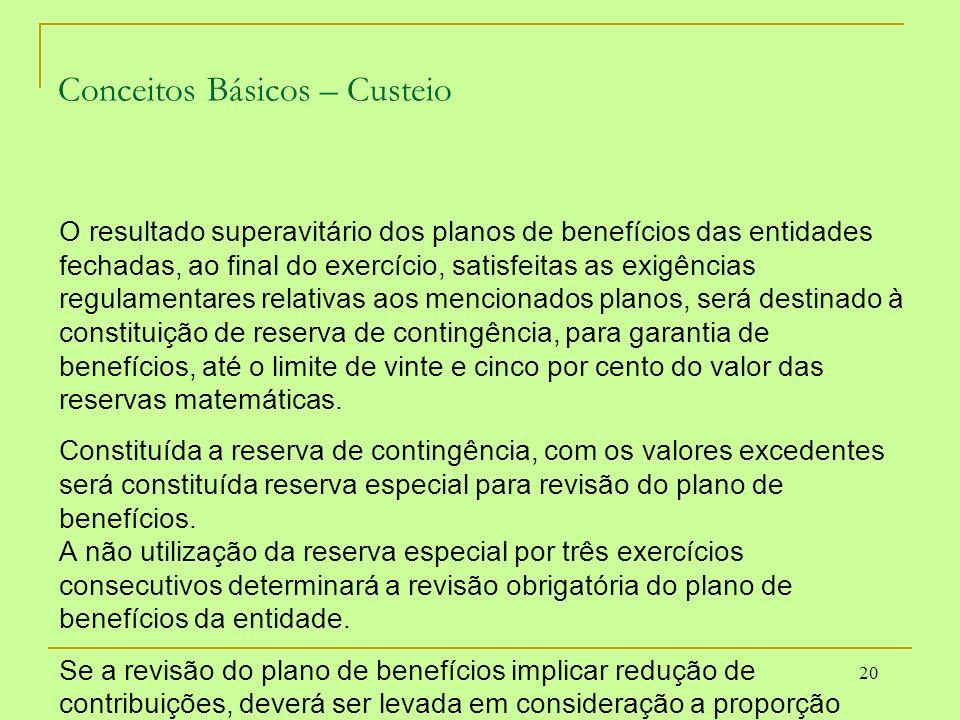 20 Conceitos Básicos – Custeio O resultado superavitário dos planos de benefícios das entidades fechadas, ao final do exercício, satisfeitas as exigên