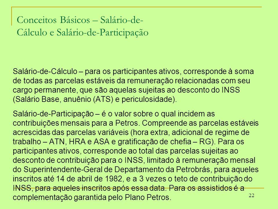 22 Conceitos Básicos – Salário-de- Cálculo e Salário-de-Participação Salário-de-Cálculo – para os participantes ativos, corresponde à soma de todas as