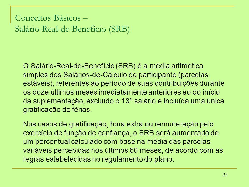 23 Conceitos Básicos – Salário-Real-de-Benefício (SRB) O Salário-Real-de-Benefício (SRB) é a média aritmética simples dos Salários-de-Cálculo do parti