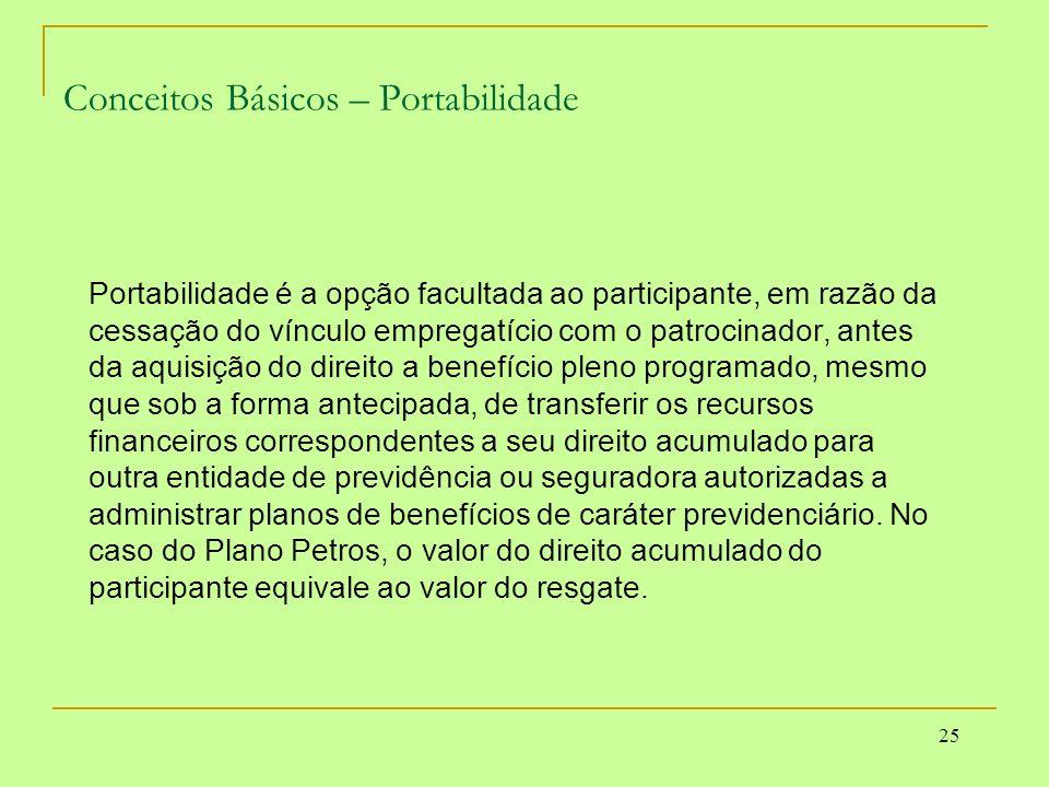 25 Conceitos Básicos – Portabilidade Portabilidade é a opção facultada ao participante, em razão da cessação do vínculo empregatício com o patrocinado