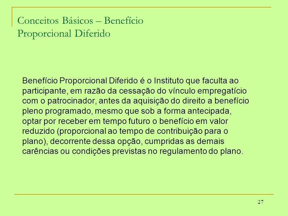 27 Conceitos Básicos – Benefício Proporcional Diferido Benefício Proporcional Diferido é o Instituto que faculta ao participante, em razão da cessação