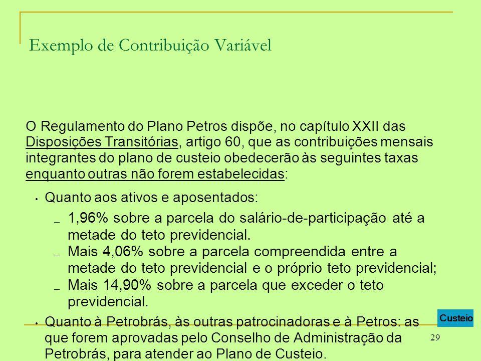 29 Exemplo de Contribuição Variável O Regulamento do Plano Petros dispõe, no capítulo XXII das Disposições Transitórias, artigo 60, que as contribuiçõ