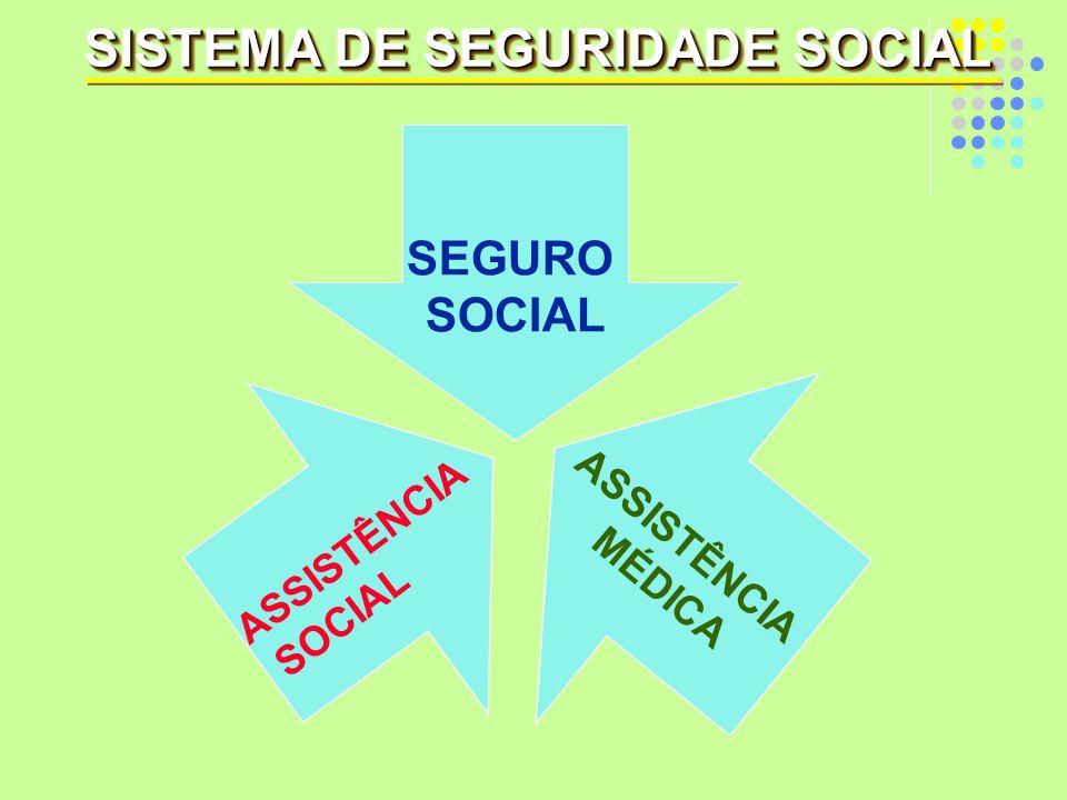 SEGURO SOCIAL ASSISTÊNCIA SOCIAL ASSISTÊNCIA MÉDICA SISTEMA DE SEGURIDADE SOCIAL