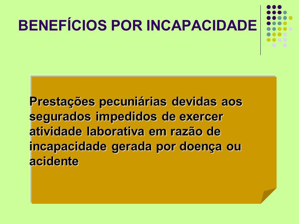BENEFÍCIOS POR INCAPACIDADE Prestações pecuniárias devidas aos segurados impedidos de exercer atividade laborativa em razão de incapacidade gerada por