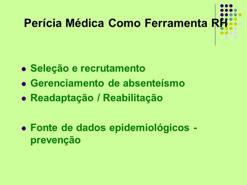 Perícia Médica Como Ferramenta RH Seleção e recrutamento Gerenciamento de absenteísmo Readaptação / Reabilitação Fonte de dados epidemiológicos - prev