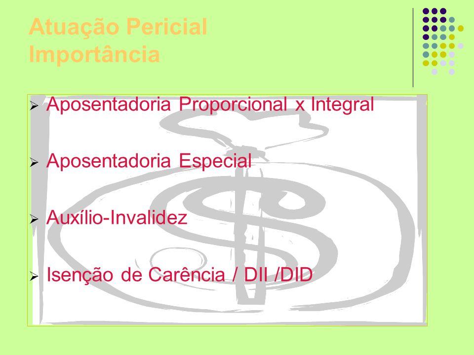 Atuação Pericial Importância Aposentadoria Proporcional x Integral Aposentadoria Especial Auxílio-Invalidez Isenção de Carência / DII /DID