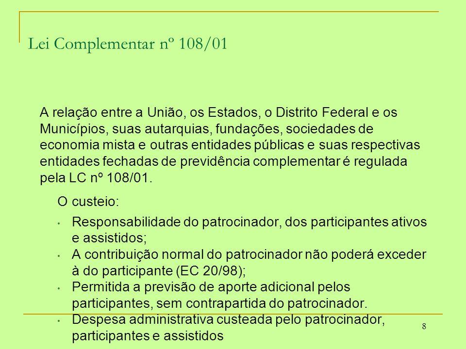 19 Conceitos Básicos – Custeio As contribuições destinadas à constituição de reservas terão como finalidade prover o pagamento de benefícios de caráter previdenciário, observadas as especificidades previstas na Lei Complementar 109/01.