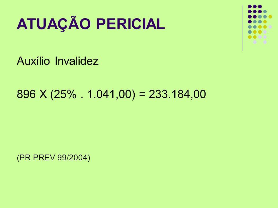 ATUAÇÃO PERICIAL Auxílio Invalidez 896 X (25%. 1.041,00) = 233.184,00 (PR PREV 99/2004)