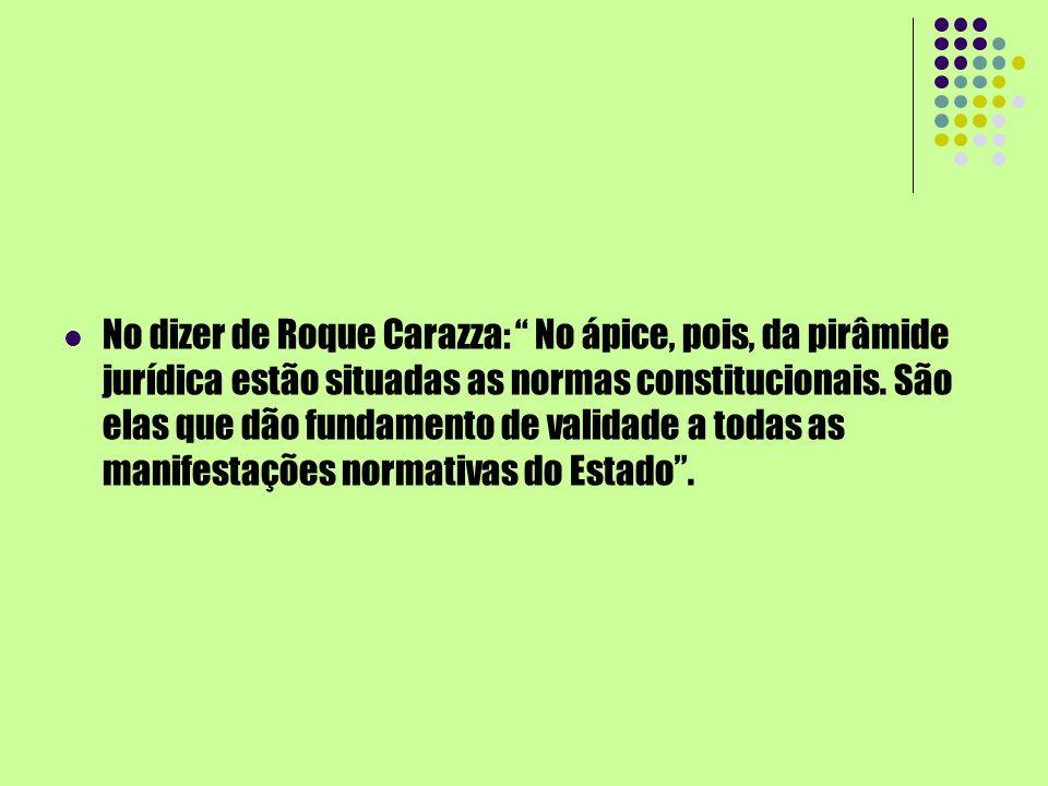 No dizer de Roque Carazza: No ápice, pois, da pirâmide jurídica estão situadas as normas constitucionais. São elas que dão fundamento de validade a to