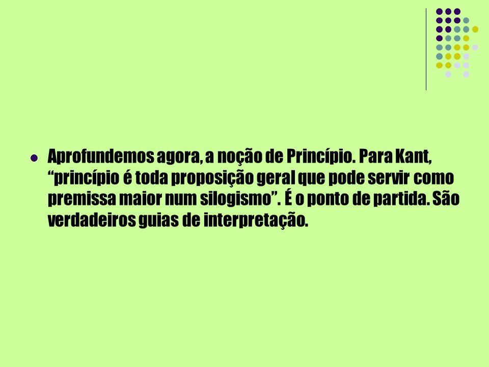 Aprofundemos agora, a noção de Princípio. Para Kant, princípio é toda proposição geral que pode servir como premissa maior num silogismo. É o ponto de