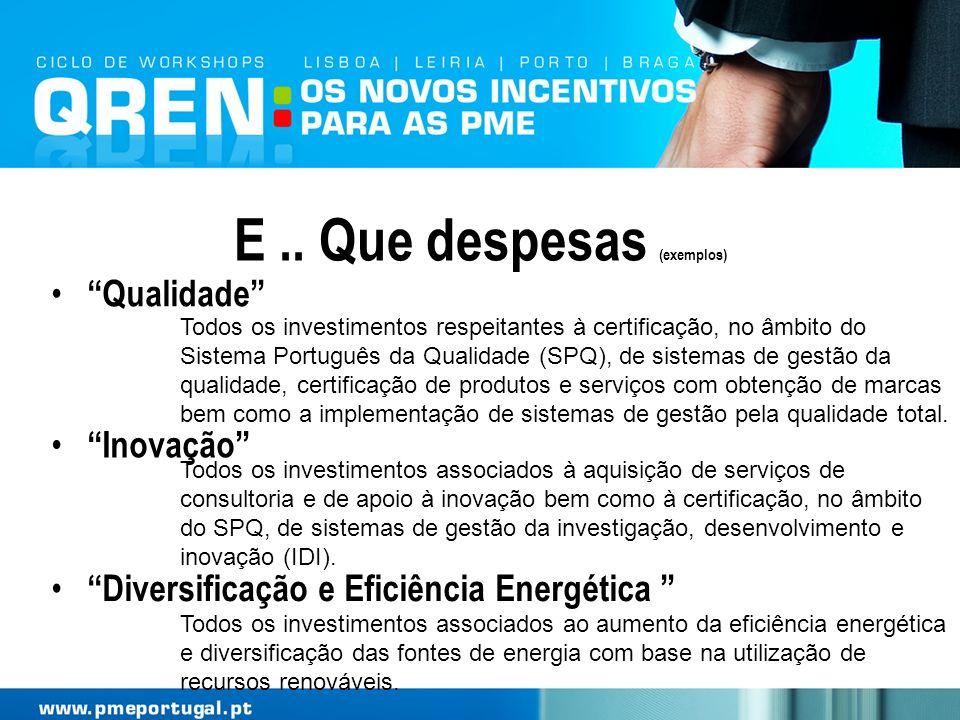 E.. Que despesas (exemplos) Qualidade Todos os investimentos respeitantes à certificação, no âmbito do Sistema Português da Qualidade (SPQ), de sistem