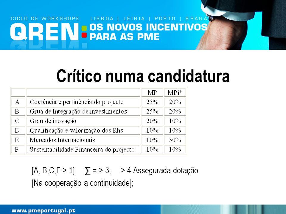 Crítico numa candidatura [A, B,C,F > 1] = > 3; > 4 Assegurada dotação [Na cooperação a continuidade];
