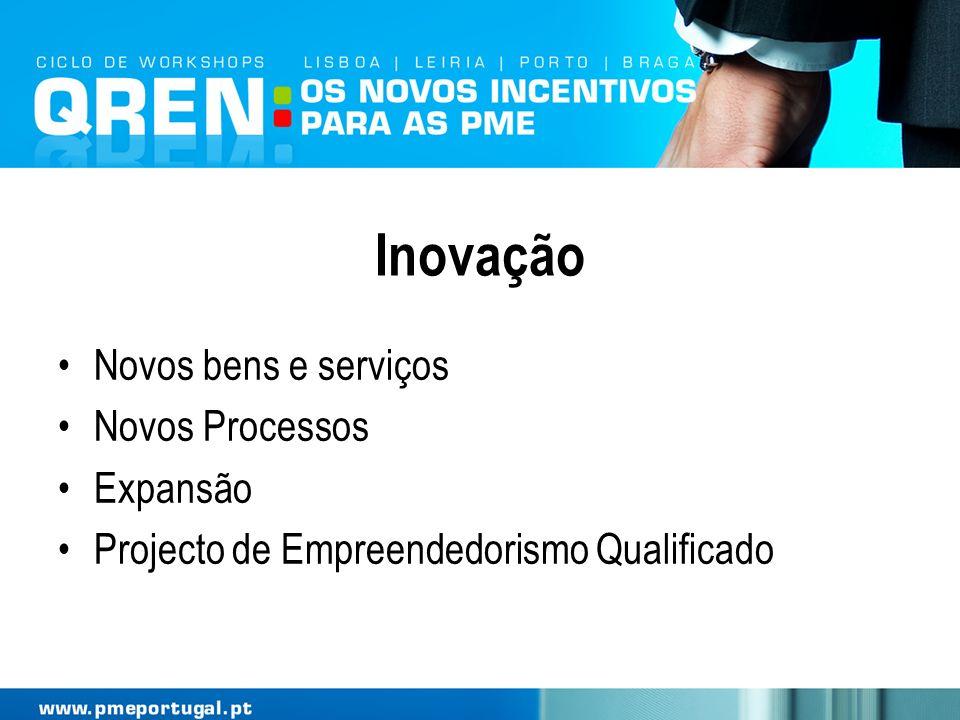 Inovação Novos bens e serviços Novos Processos Expansão Projecto de Empreendedorismo Qualificado