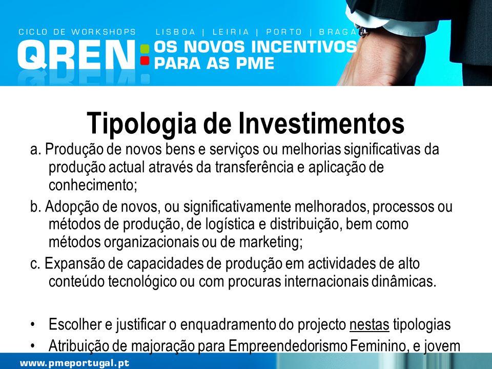 Tipologia de Investimentos a. Produção de novos bens e serviços ou melhorias significativas da produção actual através da transferência e aplicação de