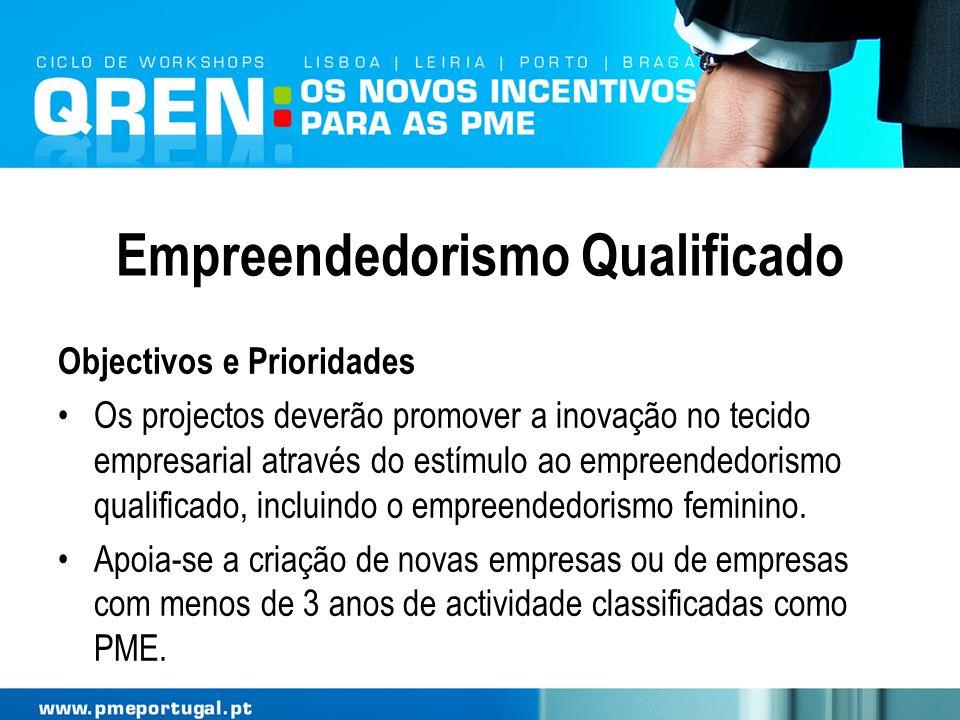 Empreendedorismo Qualificado Objectivos e Prioridades Os projectos deverão promover a inovação no tecido empresarial através do estímulo ao empreended