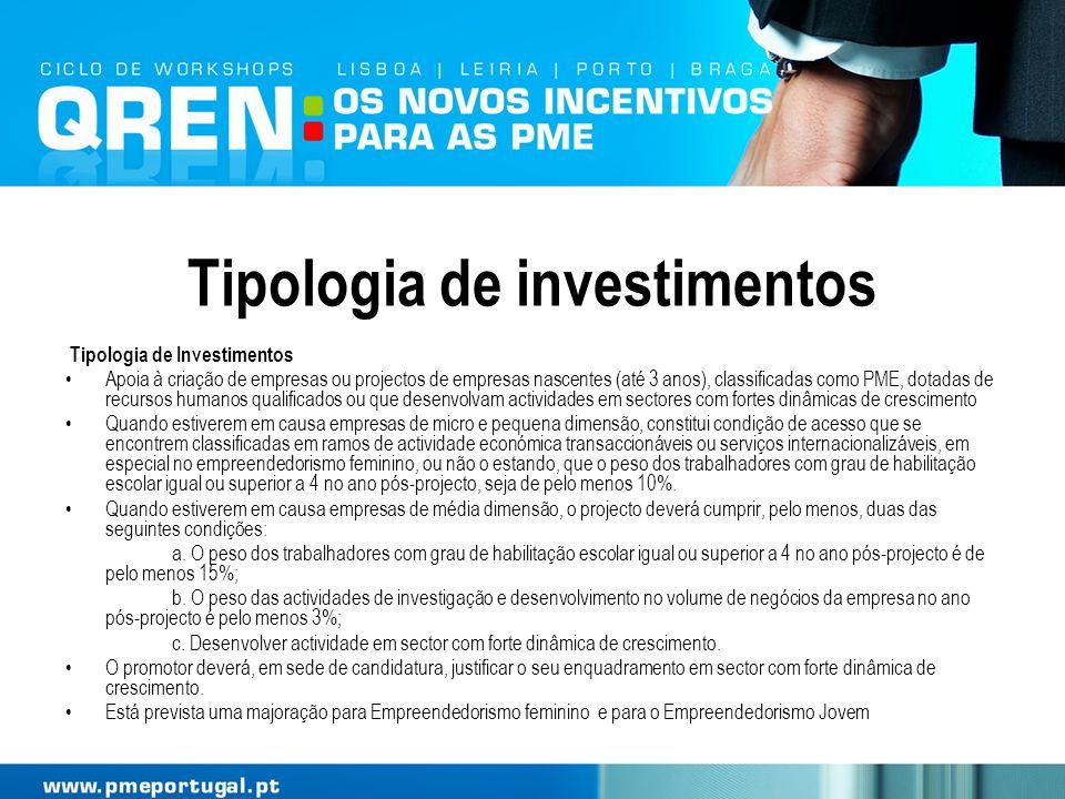 Tipologia de investimentos Tipologia de Investimentos Apoia à criação de empresas ou projectos de empresas nascentes (até 3 anos), classificadas como